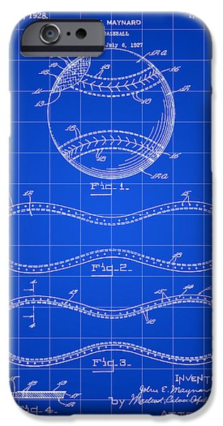 Fast Ball iPhone Cases - Baseball Patent 1927 - Blue iPhone Case by Stephen Younts