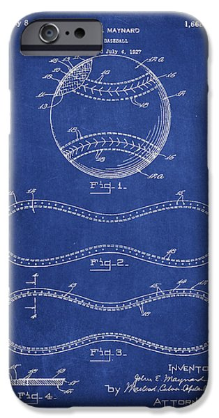 Baseball Glove iPhone Cases - Baseball Patent Drawing From 1927 iPhone Case by Aged Pixel