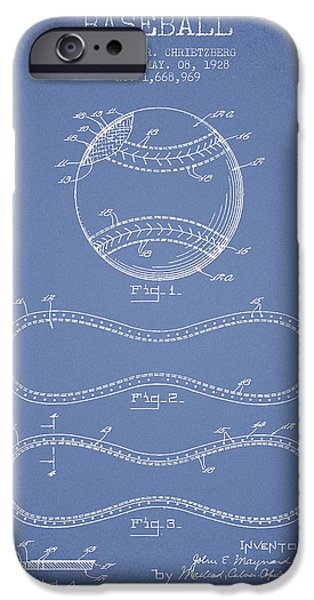 Base Ball iPhone Cases - Baseball Patent Drawing From 1928 iPhone Case by Aged Pixel