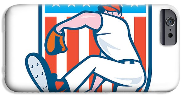 Baseball Glove iPhone Cases - Baseball Pitcher Outfielder Throwing Ball Shield Cartoon iPhone Case by Aloysius Patrimonio