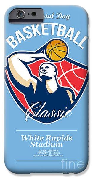 Baller iPhone Cases - Basketball Player Rebounding Ball Retro iPhone Case by Aloysius Patrimonio