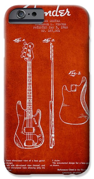 Fenders iPhone Cases - Bass Guitar Patent Drawing from 1960 iPhone Case by Aged Pixel