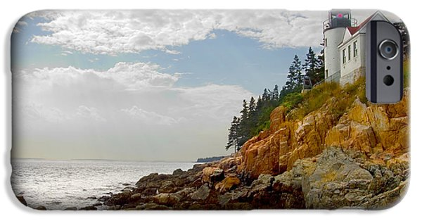 Maine Seascapes iPhone Cases - Bass Harbor Head Lighthouse iPhone Case by Mike McGlothlen