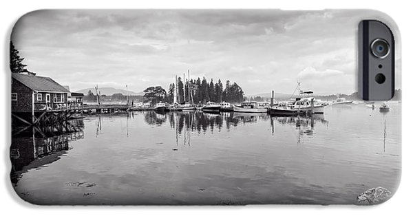 East Village iPhone Cases - Bass Harbor in the Morning Fog iPhone Case by John Bailey