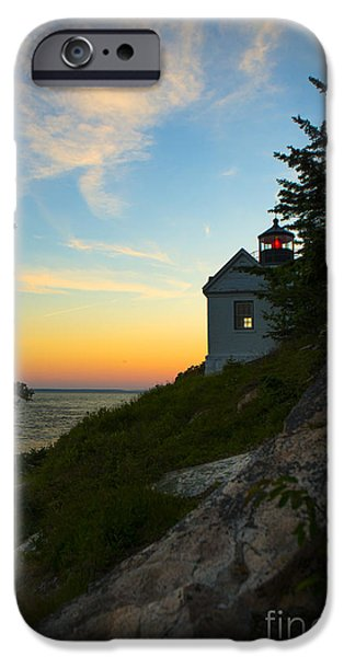 Lighthouse iPhone Cases - Bass Harbor Lighthouse at Sunset iPhone Case by Diane Diederich