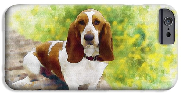 Puppy Digital Art iPhone Cases - Basset Hound iPhone Case by Don Kuing