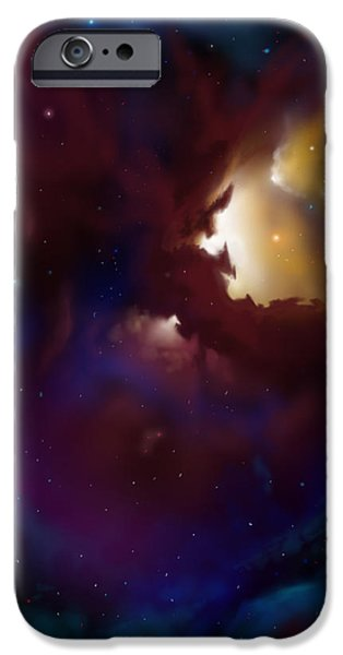 Cosmic Paintings iPhone Cases - Bat Nebula iPhone Case by James Christopher Hill