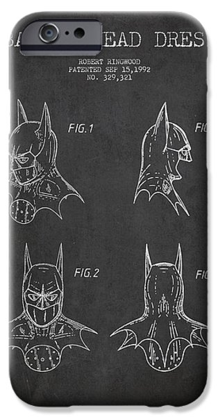 Recently Sold -  - Antiques iPhone Cases - Batman Head Dress Patent Drawing iPhone Case by Aged Pixel