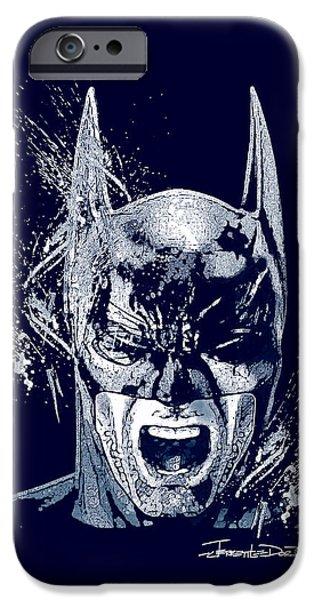 Monotone Drawings iPhone Cases - Batman iPhone Case by Jerrett Dornbusch