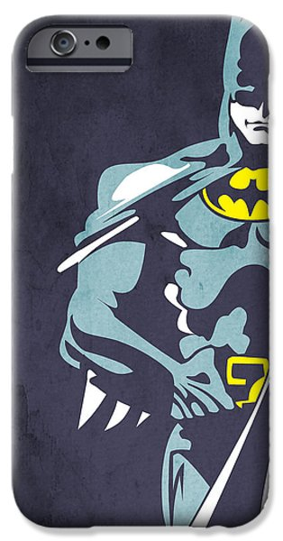 Human Figure iPhone Cases - Batman  iPhone Case by Mark Ashkenazi