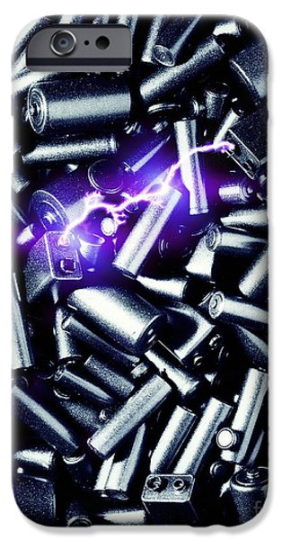 Electrical Equipment iPhone Cases - Batteries Sparking iPhone Case by Richard Kail