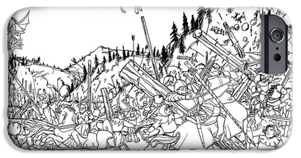 Switzerland Drawings iPhone Cases - Battle at Morgarten iPhone Case by Reynold Jay
