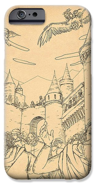 Switzerland Drawings iPhone Cases - Battle at Unterwaldon iPhone Case by Reynold Jay