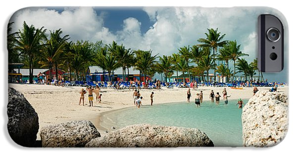 Private Island iPhone Cases - Beach at Coco Cay iPhone Case by Amy Cicconi