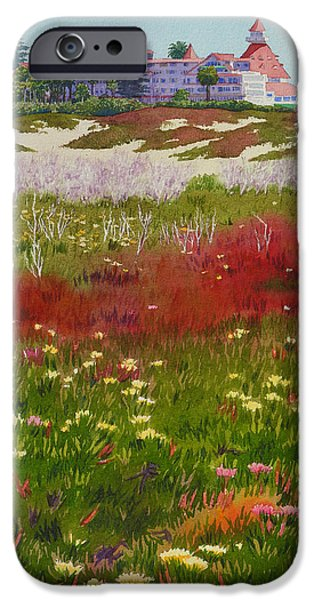 California Beach iPhone Cases - Beach Flowers at the Del iPhone Case by Mary Helmreich