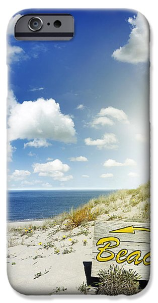 Scenic Photo Photographs iPhone Cases - Beach sign iPhone Case by Les Cunliffe