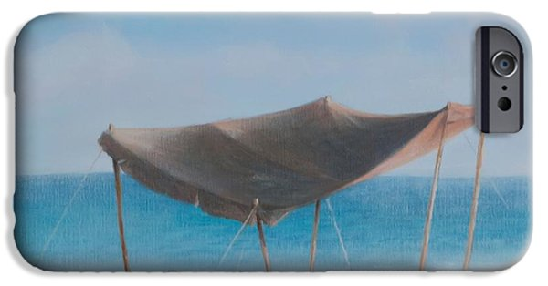 Beach iPhone Cases - Beach Tent, 2012 Acrylic On Canvas iPhone Case by Lincoln Seligman