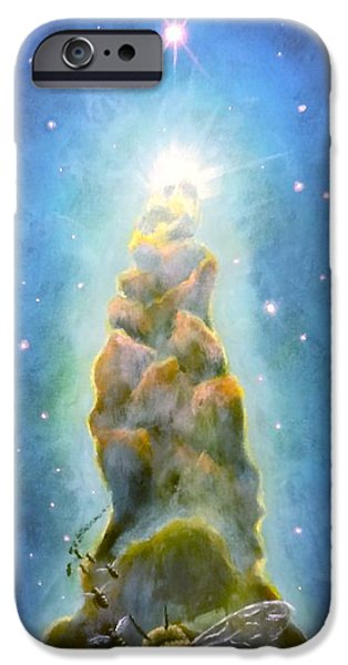 Interstellar Space Paintings iPhone Cases - Beacon iPhone Case by Tai Hicks