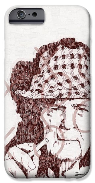 Sepia Ink Drawings iPhone Cases - Bear iPhone Case by Jerrett Dornbusch