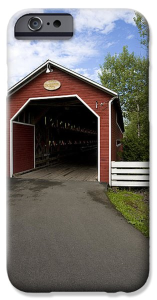 Creek iPhone Cases - Beausejour Covered Bridge iPhone Case by Michel Rathwell