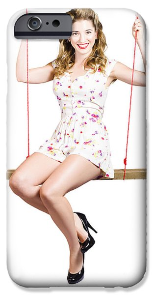 Makeshift iPhone Cases - Beautiful fifties pin up girl smiling on swing iPhone Case by Ryan Jorgensen