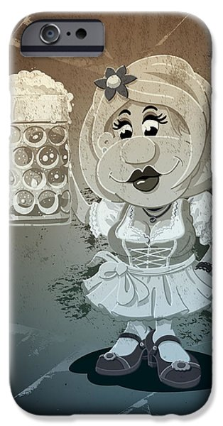 Ramspott iPhone Cases - Beer Stein Dirndl Oktoberfest Cartoon Woman Grunge Monochrome iPhone Case by Frank Ramspott