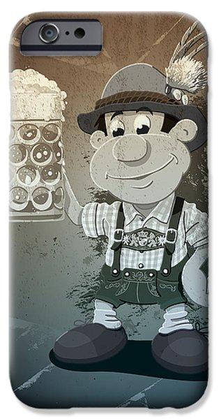 Ramspott iPhone Cases - Beer Stein Lederhosen Oktoberfest Cartoon Man Grunge Monochrome iPhone Case by Frank Ramspott