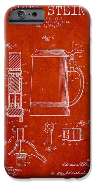 Stein iPhone Cases - Beer Stein Patent from 1914 - red iPhone Case by Aged Pixel