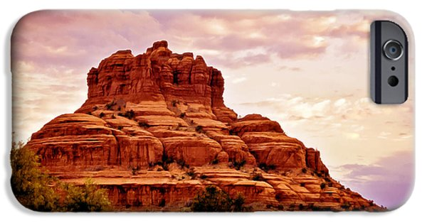 Red Rock Mixed Media iPhone Cases - Bell Rock Vortex Painting iPhone Case by  Bob and Nadine Johnston