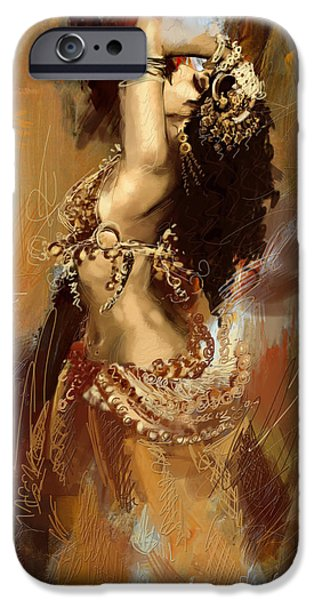 Moroccan iPhone Cases - Abstract Belly Dancer 17 iPhone Case by Corporate Art Task Force
