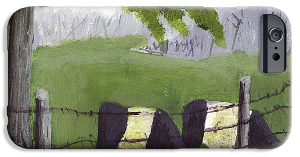 Maine Landscapes Paintings iPhone Cases - Belted Galloway Cows in Rockport Maine iPhone Case by Keith Webber Jr