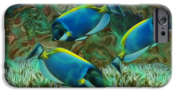 Abstract Digital Art iPhone Cases - Beneath The Waves Series iPhone Case by Jack Zulli
