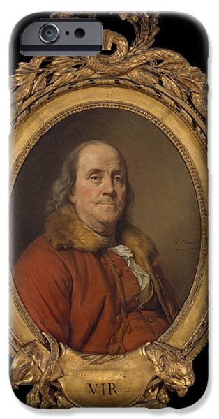 Constitution iPhone Cases - Benjamin Franklin iPhone Case by Joseph Siffred Duplessis