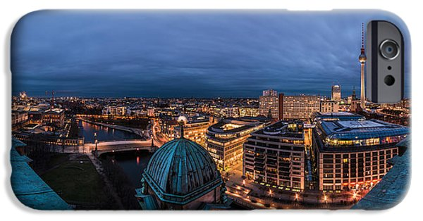 Skyline Pyrography iPhone Cases - Berlin - Cathedral Skyline View iPhone Case by Jean Claude Castor