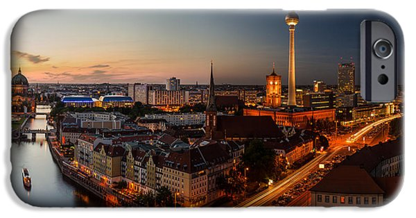 Panoramic Pyrography iPhone Cases - Berlin Skyline Panorama  iPhone Case by Jean Claude Castor