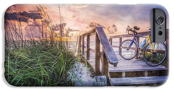 Sanddunes iPhone Cases - Bicycle at the Beach iPhone Case by Debra and Dave Vanderlaan
