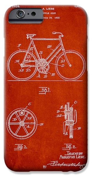 Sled iPhone Cases - Bicycle Gear Patent Drawing from 1922 - Red iPhone Case by Aged Pixel