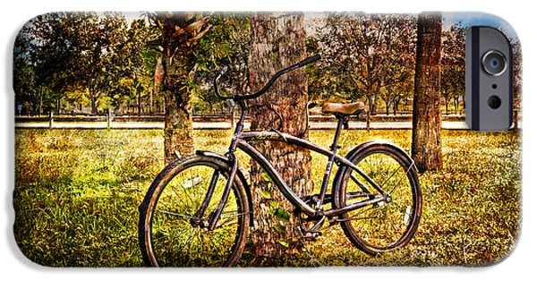 Racing iPhone Cases - Bicycle in the Park iPhone Case by Debra and Dave Vanderlaan