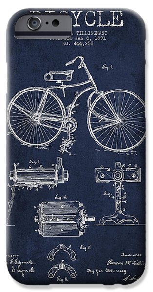 Transportation Digital Art iPhone Cases - Bicycle Patent Drawing from 1891 iPhone Case by Aged Pixel