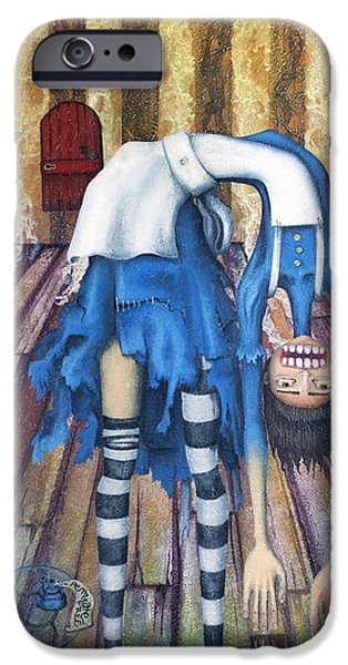 Drips Paintings iPhone Cases - Big Alice Little Door iPhone Case by Kelly Jade King