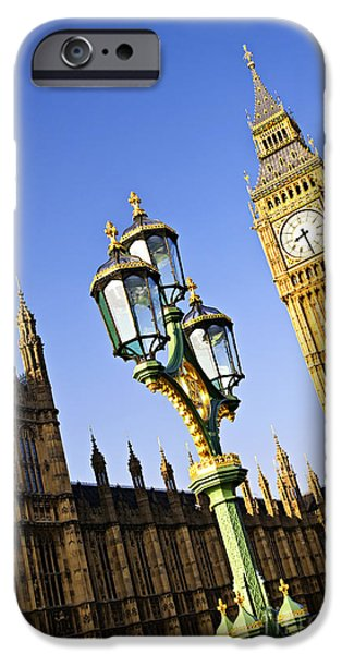 Streetlight Photographs iPhone Cases - Big Ben and Palace of Westminster iPhone Case by Elena Elisseeva