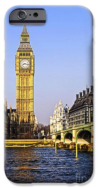 River View iPhone Cases - Big Ben and Westminster bridge iPhone Case by Elena Elisseeva