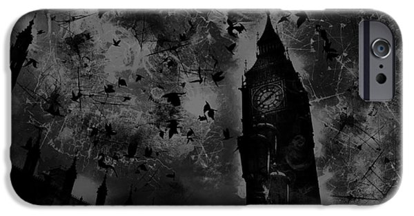 Epic iPhone Cases - Big Ben Black and White iPhone Case by Marina McLain