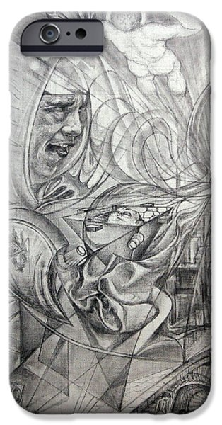 Pathway Drawings iPhone Cases - Big Game Or Silence Is Gold iPhone Case by Mikhail Savchenko