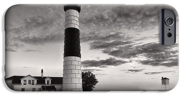 Paths iPhone Cases - Big Sable Point Lighthouse in Black and White iPhone Case by Sebastian Musial