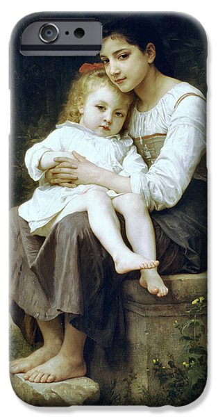 Big Sister iPhone Case by William Bouguereau