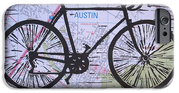 Linoluem Drawings iPhone Cases - Bike 8 on Map iPhone Case by William Cauthern