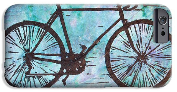 Lino Drawings iPhone Cases - Bike 8 iPhone Case by William Cauthern