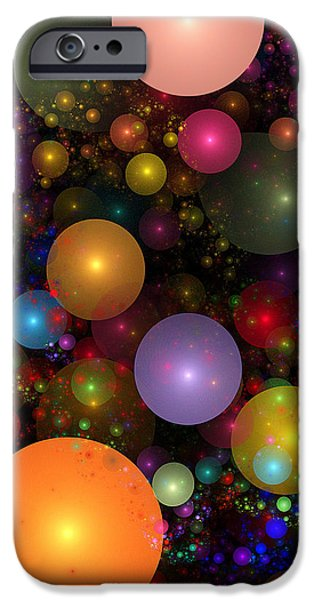 Abstract Digital iPhone Cases - Billions of Bubbles iPhone Case by Peggi Wolfe