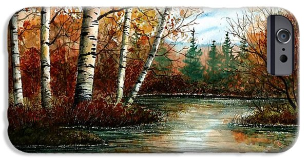 Fall Scenes iPhone Cases - Birch Pond iPhone Case by Steven Schultz
